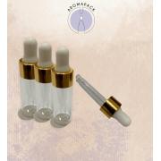 01 Conta Gotas 5ml  vidro  incolor bulbo silicone branco e tampa furada dourada