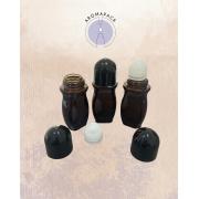 01 Vidro âmbar Rollon 50ml Desodorante com esfera plástica