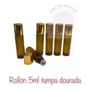 100 Frascos Vidro Âmbar Rollon 5ml Tampa Dourada