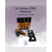 10 Frascos Âmbar Rollon 10ml Premium 01 Funil 1 Abridor
