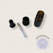 10 frascos vidro âmbar conta gotas 10ml com bulbo silicone preto e tampa preta