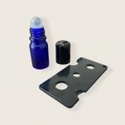10 Frascos Vidro Âmbar Rollon 5ml Premium Azul + 1 Abridor