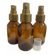 10 Frascos Vidro Âmbar Spray 60ml Válvula Dourada