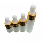 10 frascos vidro fosco incolor bulbo silicone branco e tampa furada dourada