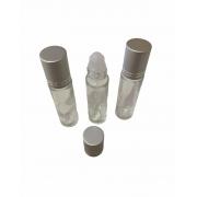 10 Frascos Vidro Incolor 10ml tampa prata e Rollon Plástico