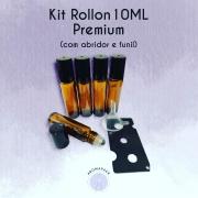 20 Frascos Vidro Âmbar Rollon 10ml Premium (grosso)+ 1 Funil e 1 Abridor