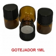 kit 100 (10 kits com 10) gotejador 1ml tampa preta e gotejador incolor natural