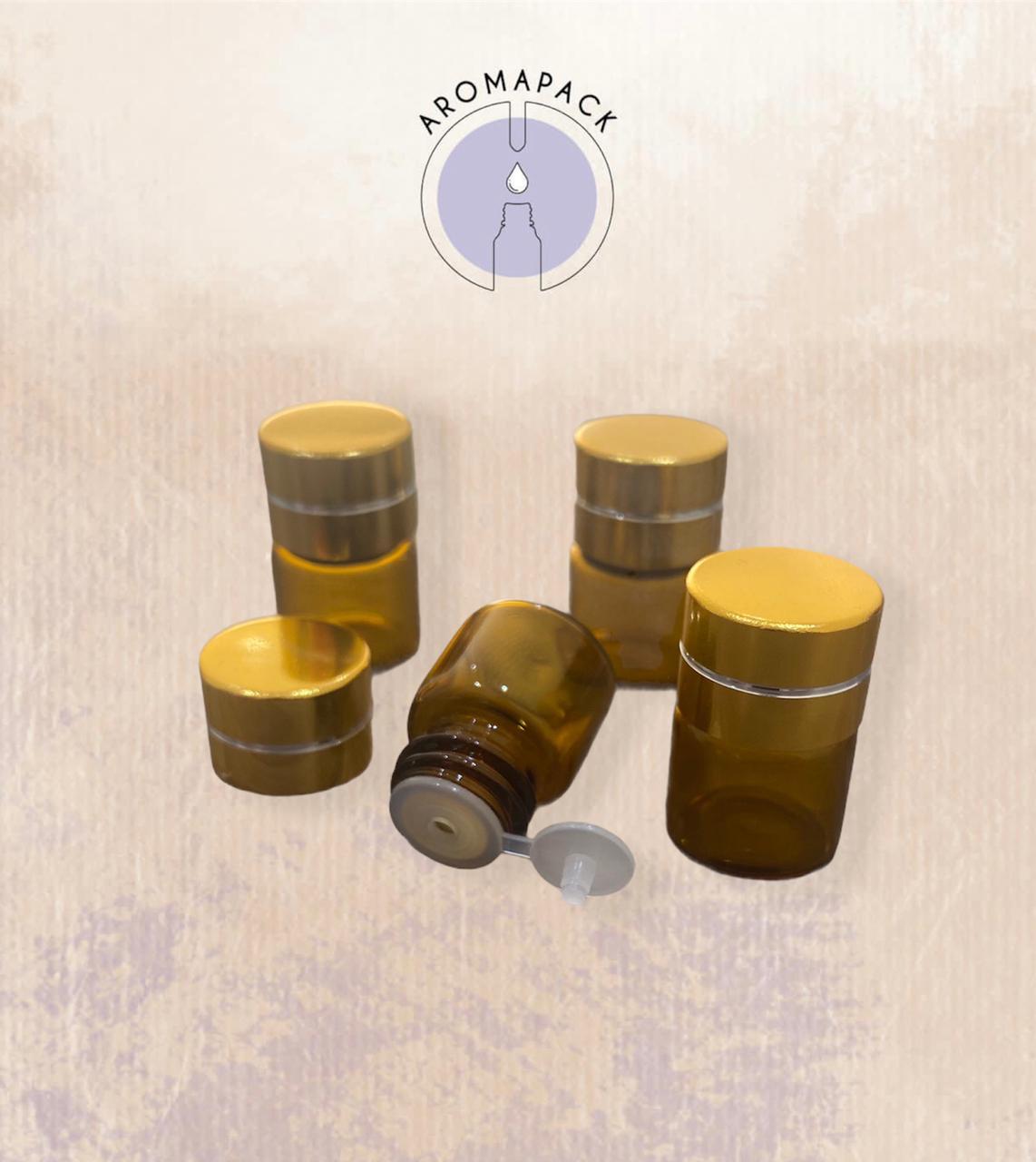 50 frascos vidro âmbar gotejador 1ml tampa gold