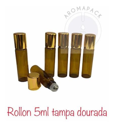 50 Frascos Vidro Âmbar Rollon 5ml Tampa Dourada