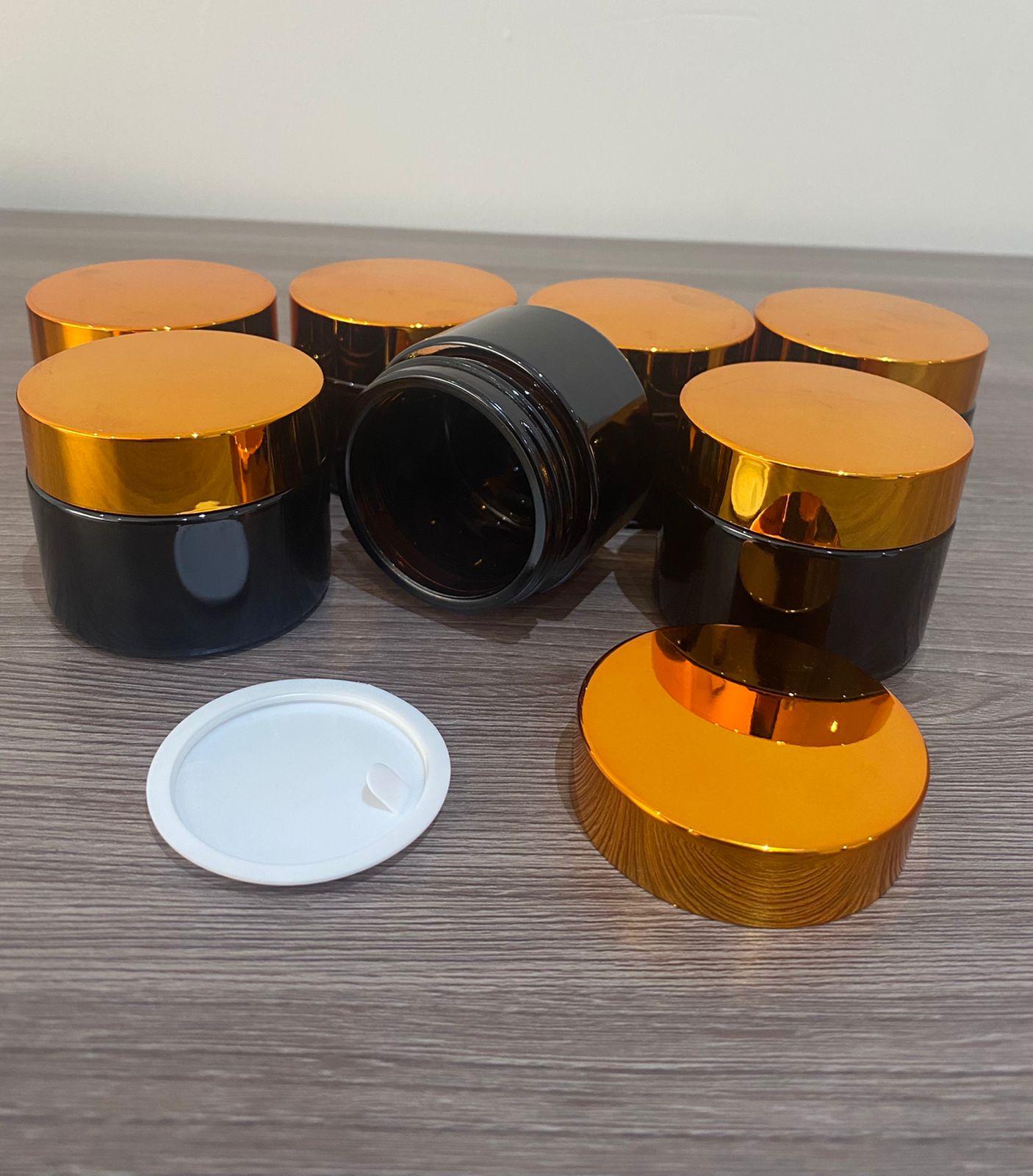 50 Potes vidro âmbar 50ml