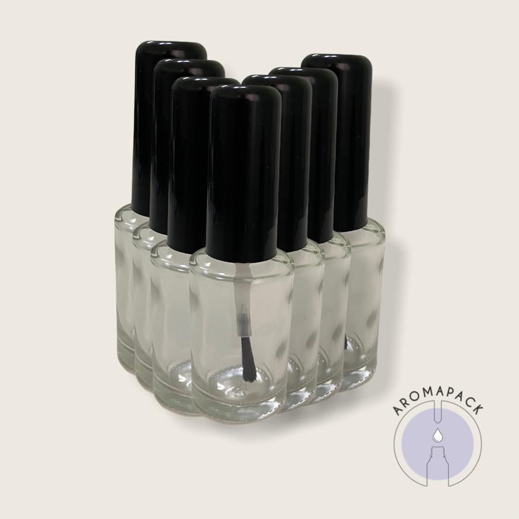 5 Vidro Esmalte incolor 10ml tampa preta ou branca
