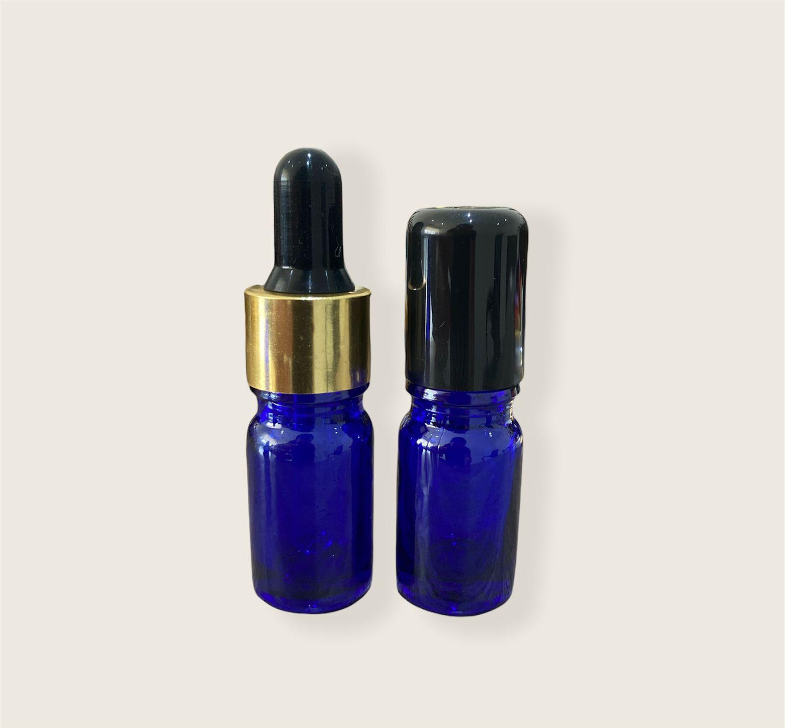 Frasco Vidro Azul Conta Gotas 5ml com tampa dourada - Bulbo Preto ou Branco