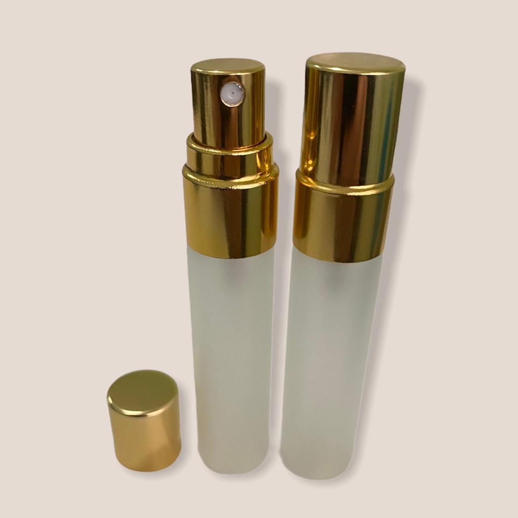 Frasco vidro incolor fosco 5ml válvula spray dourada sem lacre