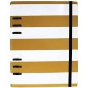 Fichário Gold A5 Listra Branco e Dourado4904-1 Ótima