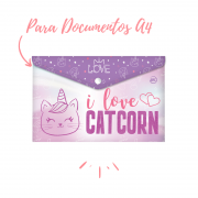 PASTA MALOTE A4 COM BOTÃO LOVE CATCORN - DAC