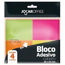 Bloco Adesivo Colorido Neon Blister Com 4 Blocos- Jocar Office