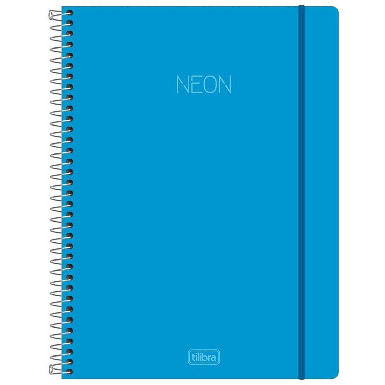 Caderno Neon Azul Capa Plástica Universitário 10 M- TILIBRA