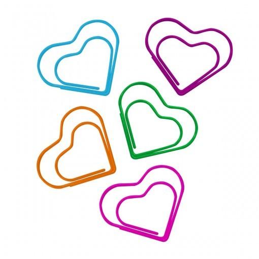 Clips Coração Vazado Colorido