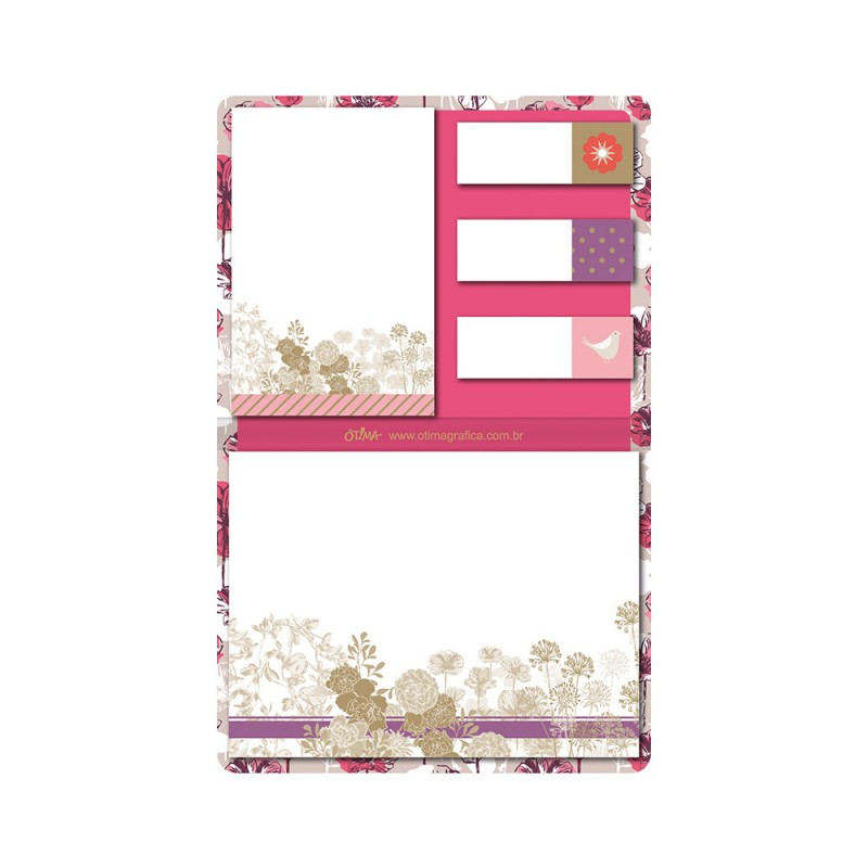 CONJUNTO DE STICKY NOTES FLORAL- OTIMA 4208-0