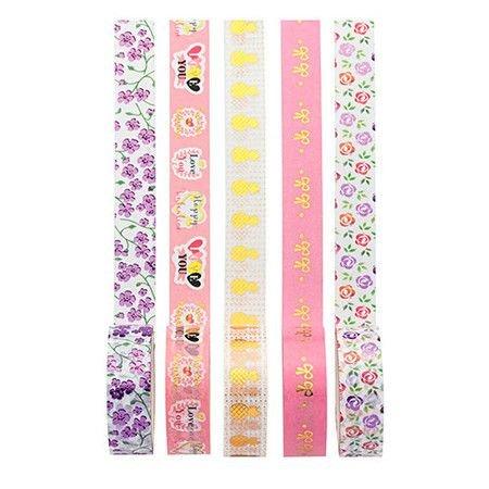Washi Tape 5 Unidades flores