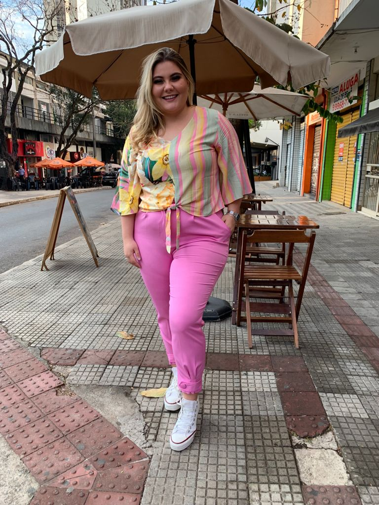 CALÇA ROSA MAXI PLUS SIZE