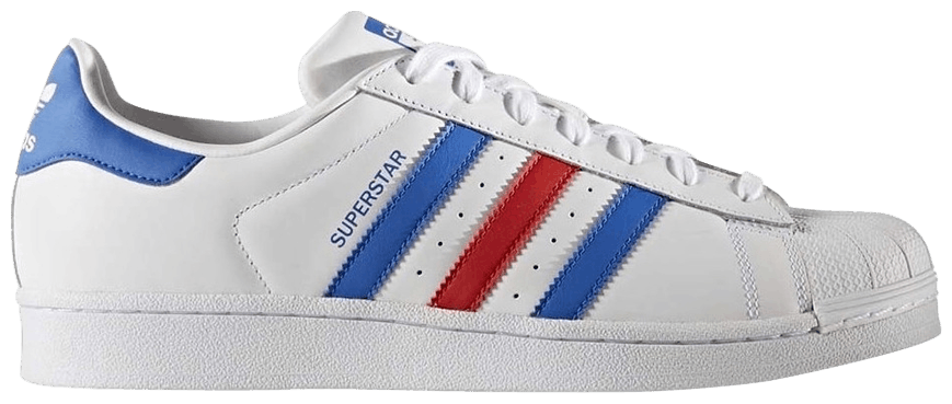 Tênis Adidas Superstar White Blue Red