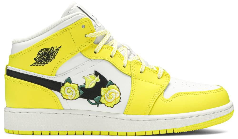 Tênis Air Jordan 1 Mid SE GS Rose Patch - Dynamic Yellow