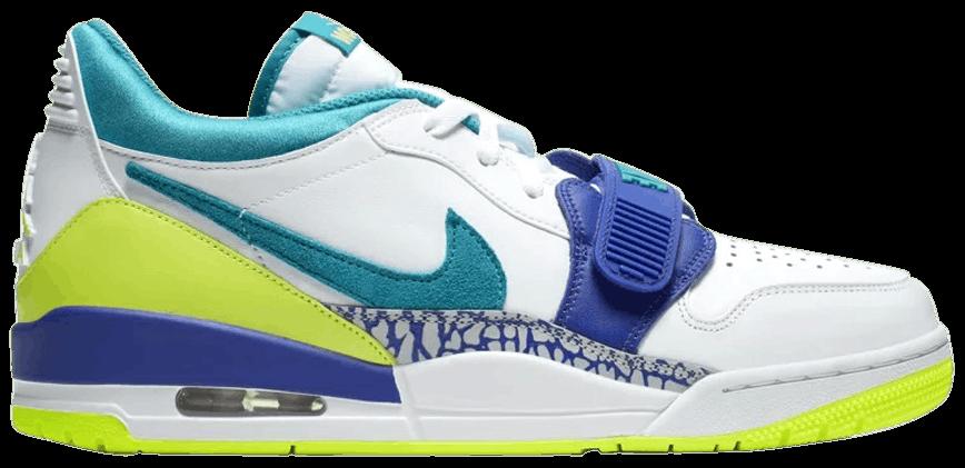 Tênis Just Don x Jordan Legacy 312 Low Neon Aquamarine