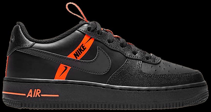 Tênis Nike Air Force 1 LV8 KSA GS Worldwide Pack - Black Total Orange