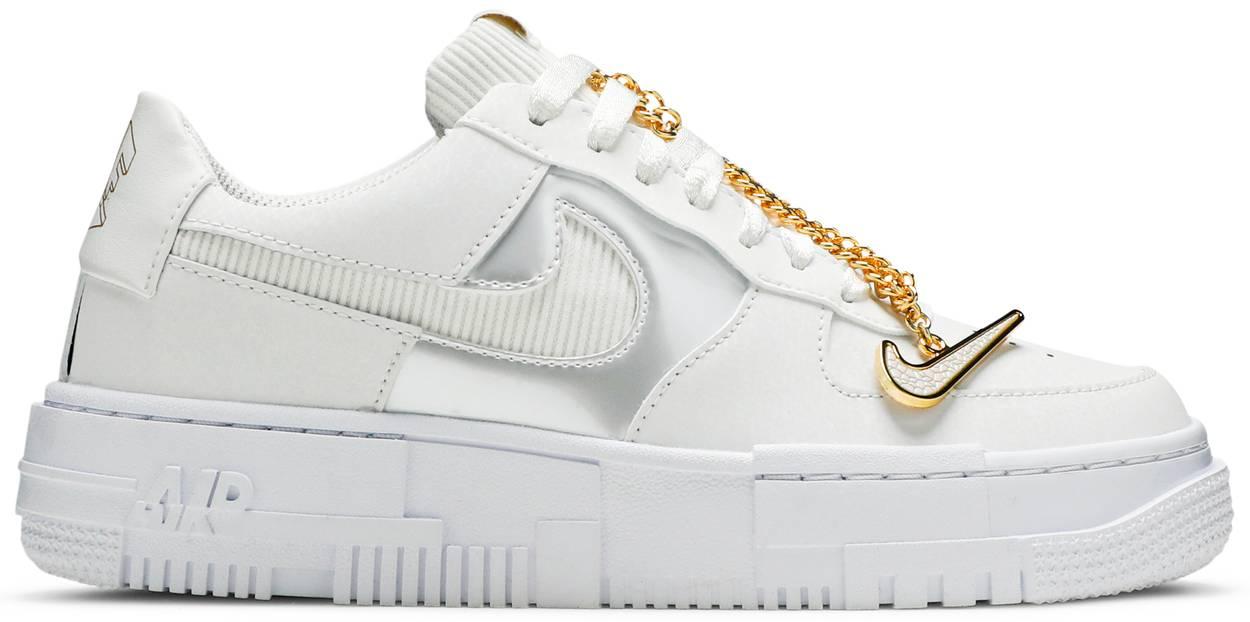 Tênis Nike Air Force 1 Pixel White Gold Chain