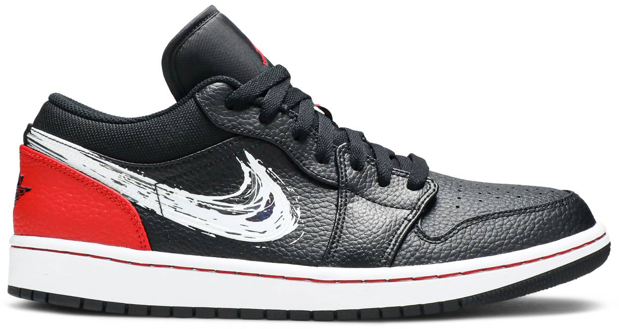 Tênis Air Jordan 1 Low Brushstroke Swoosh - Black Red