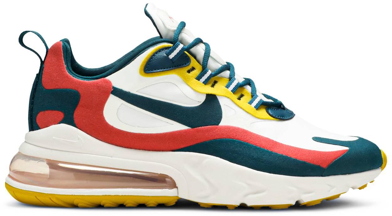Tênis Nike Air Max 270 React White Turquoise Yellow