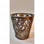 Porta vela com detalhes de folhas em latao reda -104B porta vela em vidro com detalhes em latao em forma de folhas feito a mao
