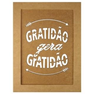 Quadro Moldura em MDF Retangular Gratidão Gera Gratidão