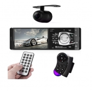 Central Multimidia 1 Din Radio Aparelho Automotivo USB Bluetooth SD Camera de Ré