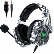 Fone de ouvido Headset Gamer Onikuma K8 Camo Branco Microfone Ps4/X-one Celular