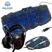 Fone Headset LM1 + Teclado e Mouse Gamer Inland
