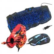 Kit Gamer com Headset Onikuma K1B Camuflado Vermelho, Teclado e Mouse Inland
