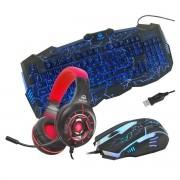 Kit Gamer com Headset Z315 Vermelho RGB, Teclado e Mouse Inland