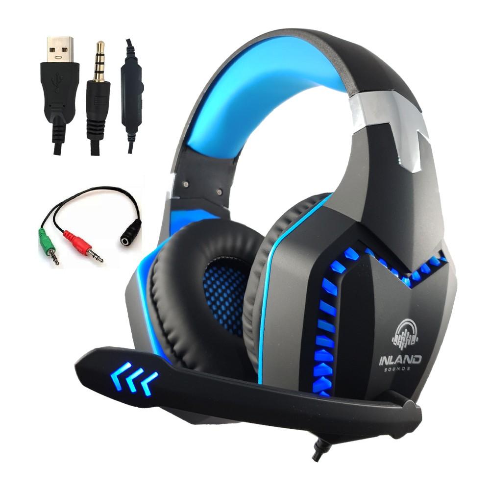 Fone de ouvido Headset Gamer Azul Preto LEd Microfone Compativel com Ps4/x-one PC