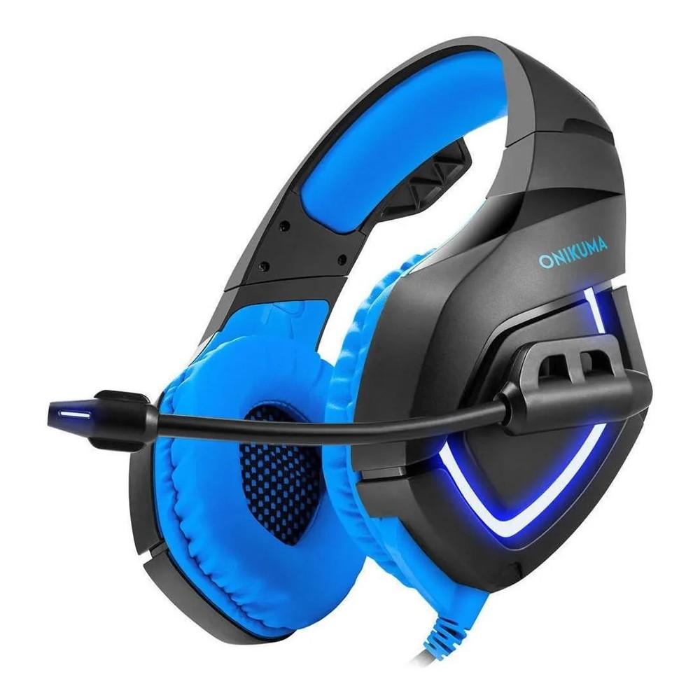 Fone de ouvido Headset Gamer k1b Onikuma Azul e Preto Microfone Ps4/X-one Celular PC Azul Preto