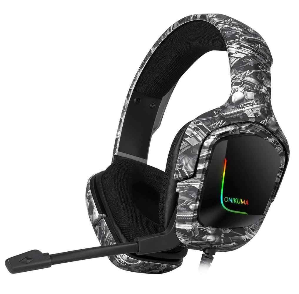 Fone de ouvido Headset Gamer Onikuma K20 Camuflado Cinza Microfone Ps4/X-one Celular