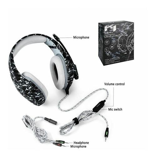 Fone de ouvido Headset Gamer Onikuma K5 Camuflado Cinza Microfone Ps4/X-one Celular