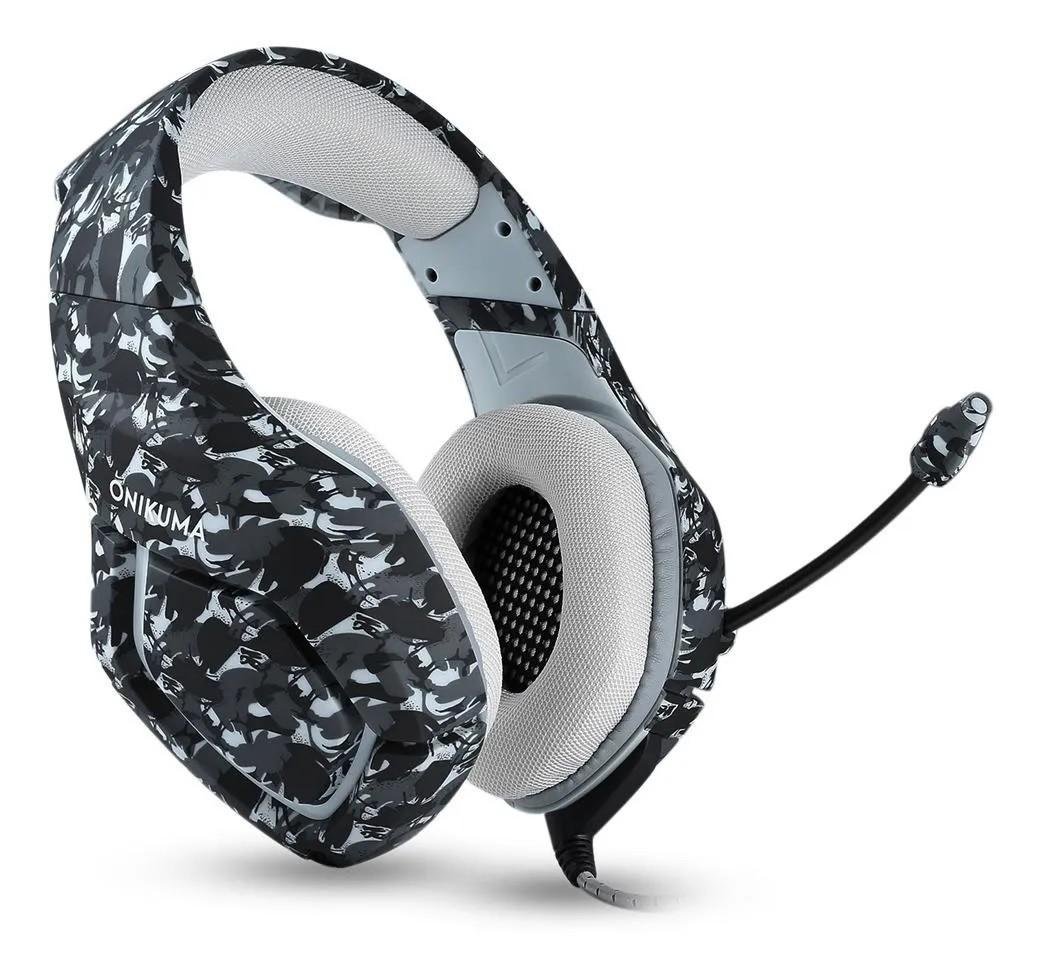 Fone de ouvido Headset K1b Onikuma Gamer Microfone Ps4/X-one Celular PC Camuflado Cinza
