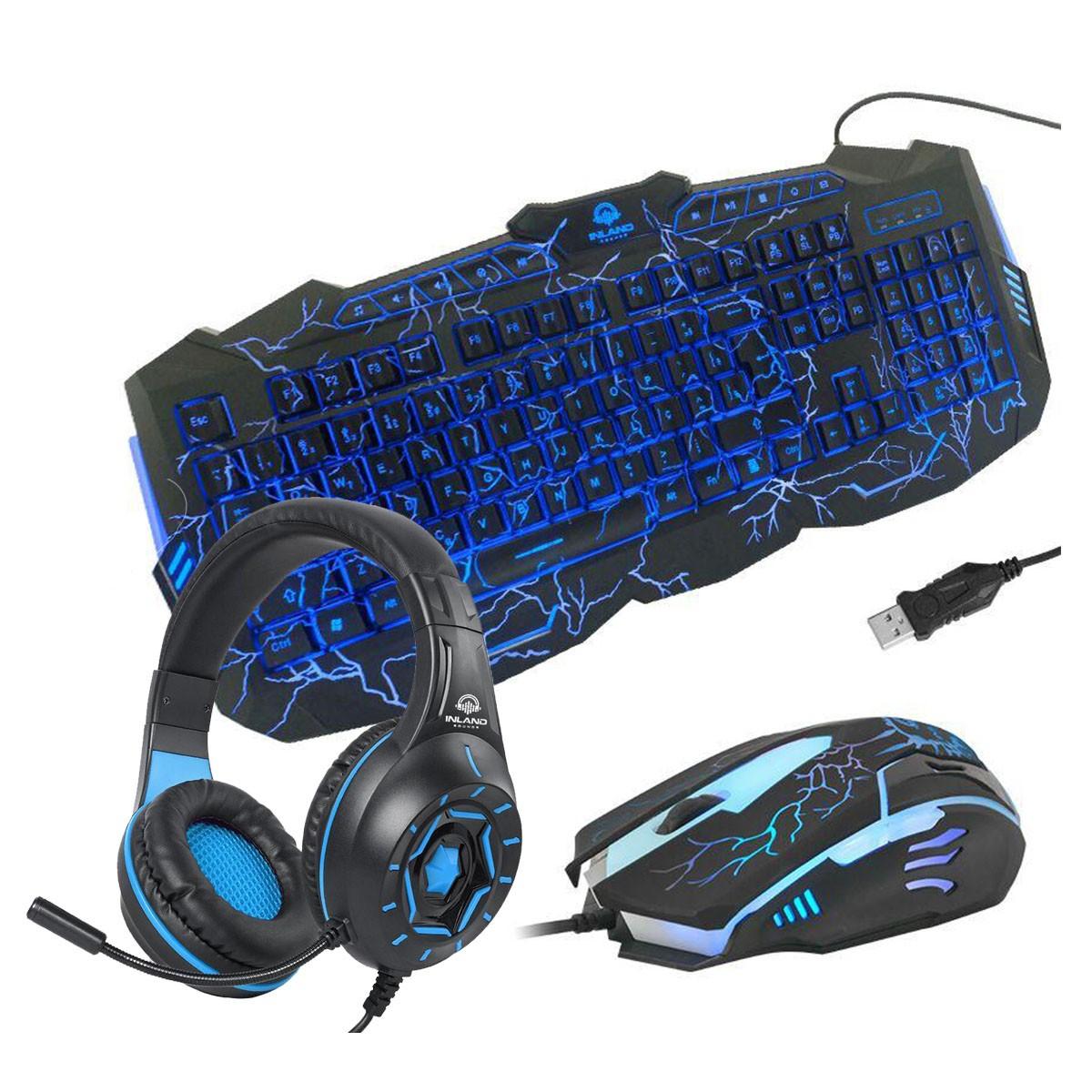 Kit Gamer com Headset Z90 Azul, Teclado e Mouse Inland