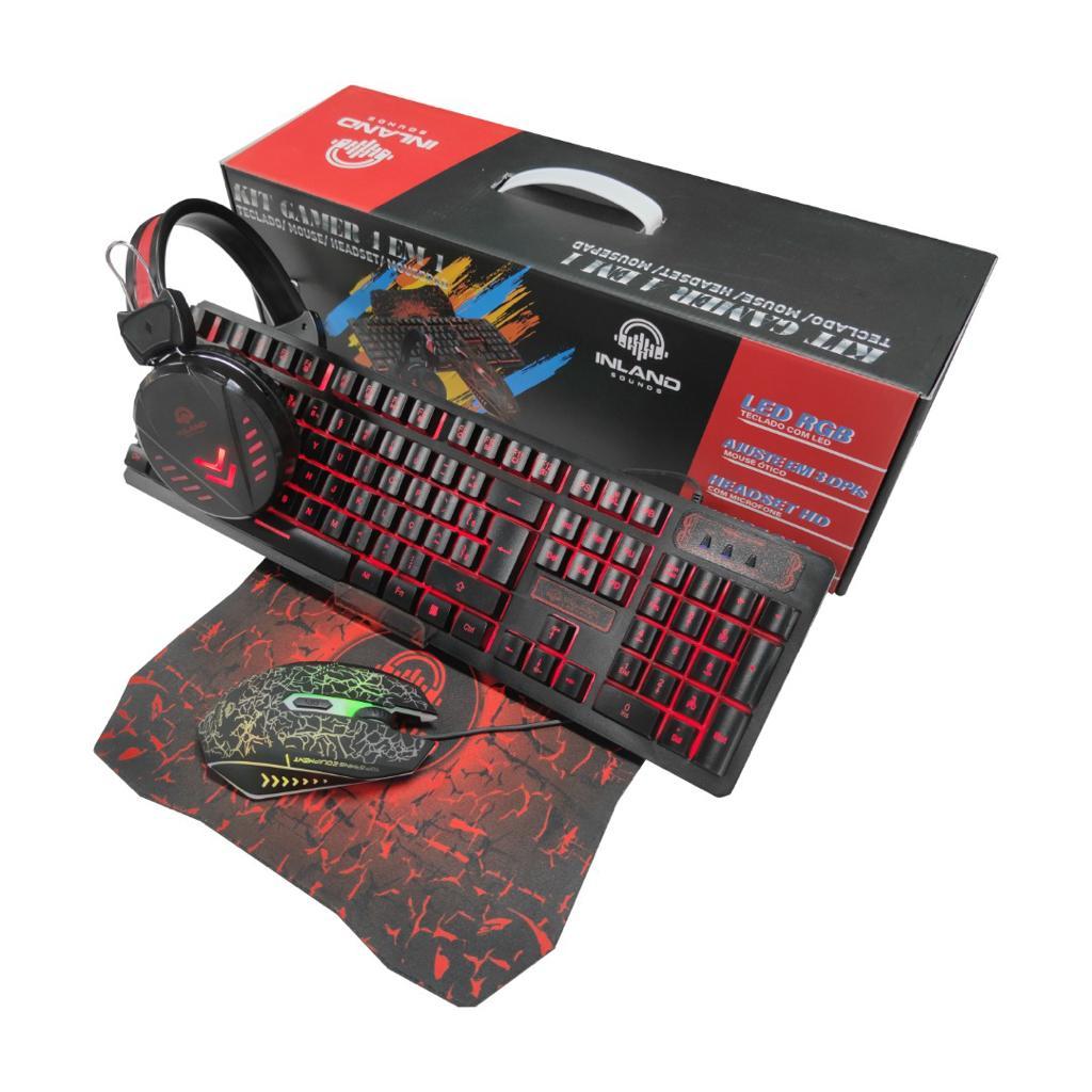 Kit Gamer Teclado e Mouse Fone de ouvido HeadSet RGB Inland RGB715