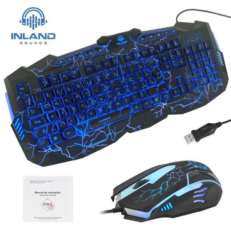 Teclado Mouse Gamer Rgb Backlight Preto Inland Player Pc Kit