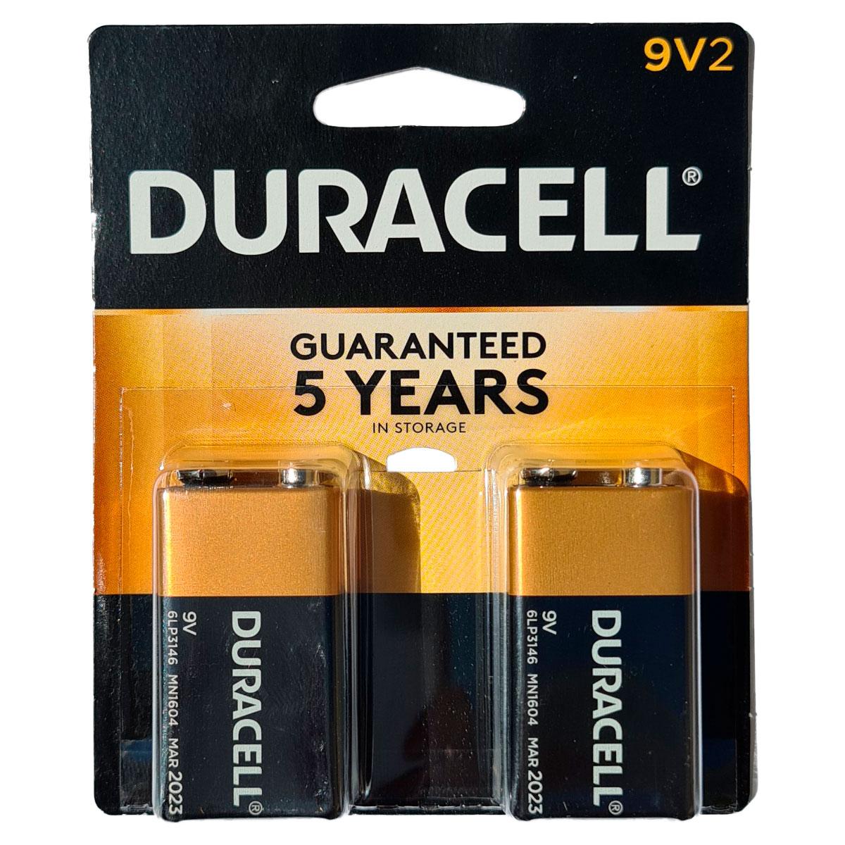 2 Baterias Alcalina Duracell 9 Volts MN1604B2