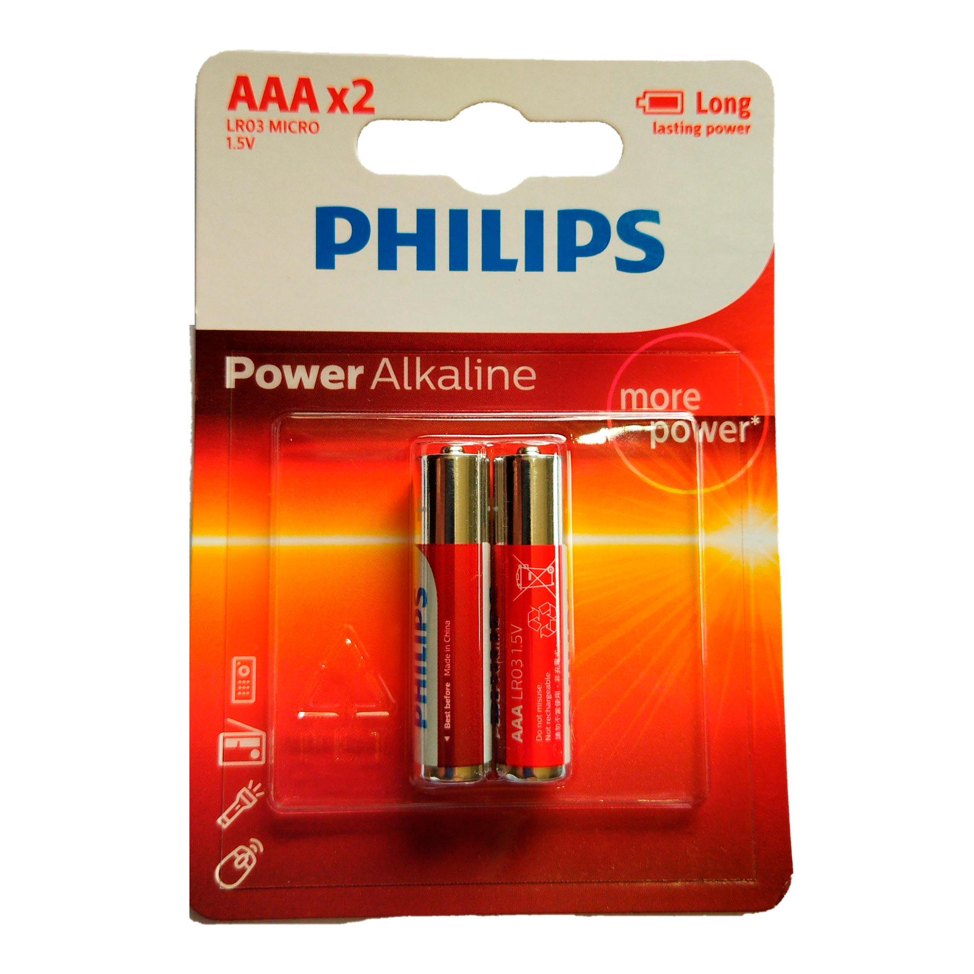 2 Pilhas Alcalina Philips AAA Palito 1,5v LR03P2B/97
