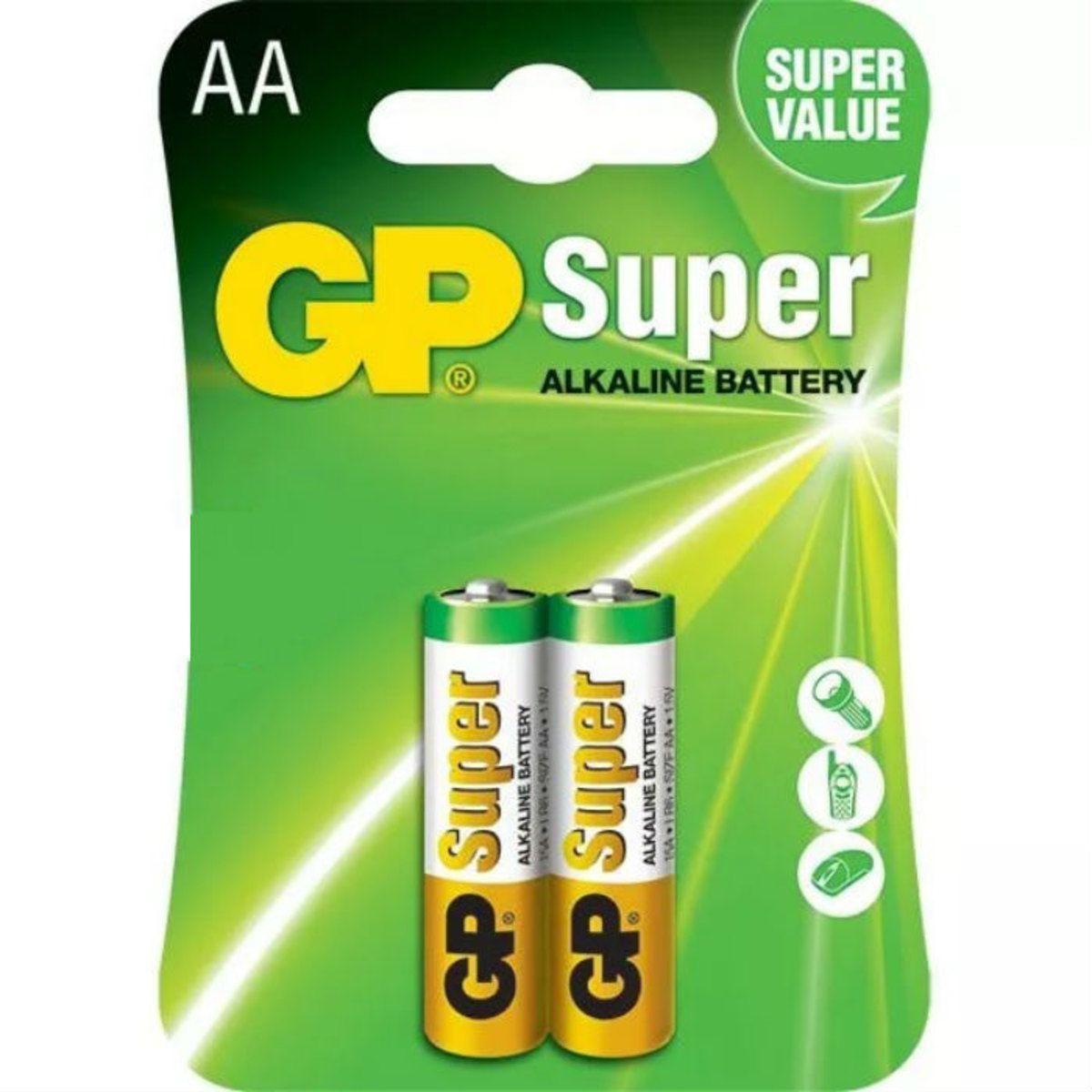 2 Pilhas GP Alcalina AA Super Atacado e Revenda LR6 1.5V